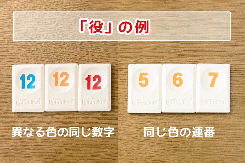 「異なる色の同じ数字」と「同じ色の連番」の例