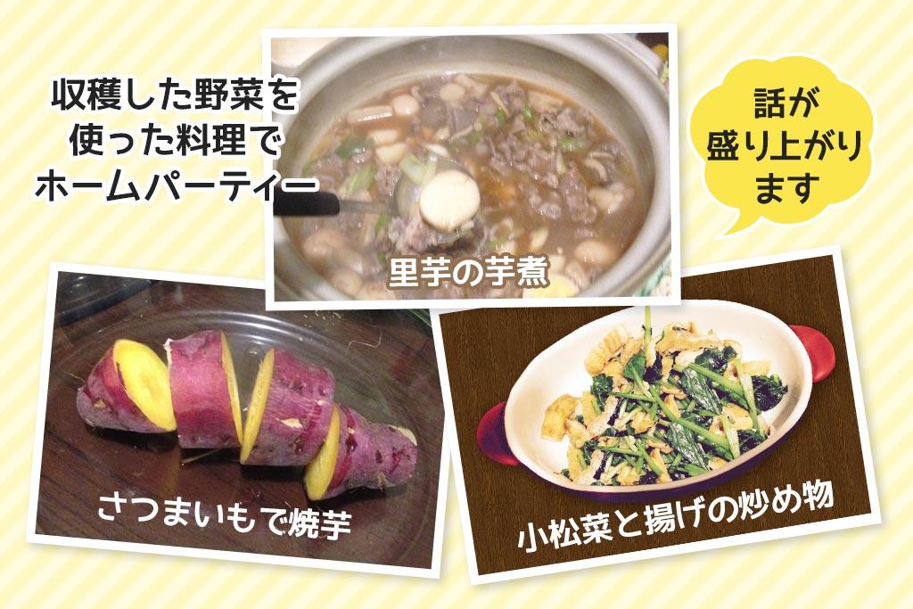収穫した野菜で料理をした写真