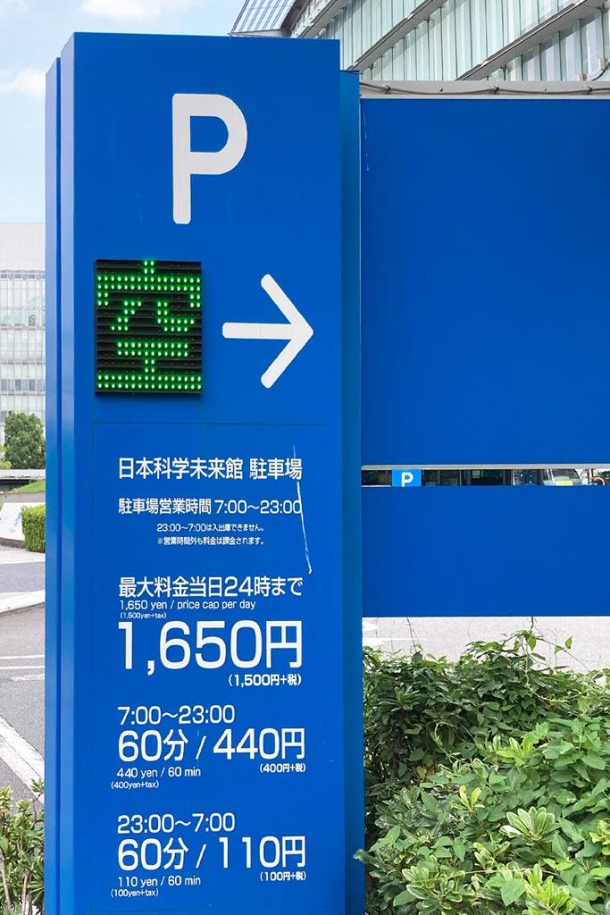 駐車場の価格(2021年8月時点)