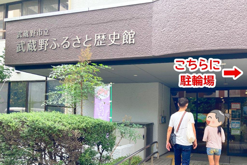 武蔵野ふるさと歴史館エントランス前に駐輪場