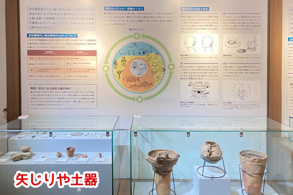 原始時代、縄文時代の矢じりや土器
